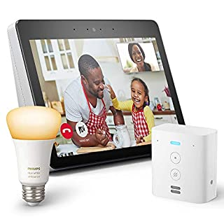 Echo Show (2nd Gen) Bundle with Echo Flex and Philips Hue Bulb - Alexa smart home starter kit - Sandstone