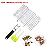 SHAN PU Grill Basket, BBQ Grilling Basket with Removable Handle for Fish, Vegetables, Steak, Shrimp, Meat, Food,Stainless Steel Grill Accessories