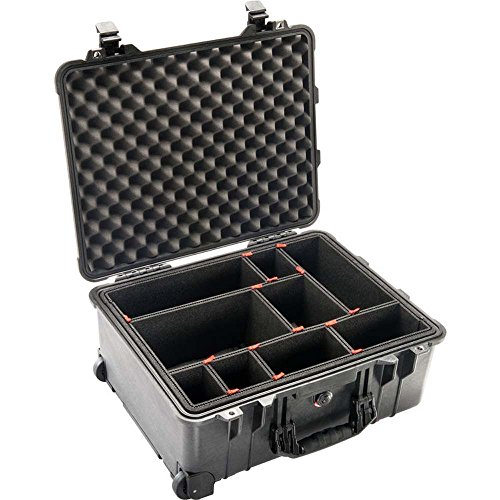 Pelican 1560 Watertight Hard Case with TrekPak Divider Foam Insert & Wheels - Black