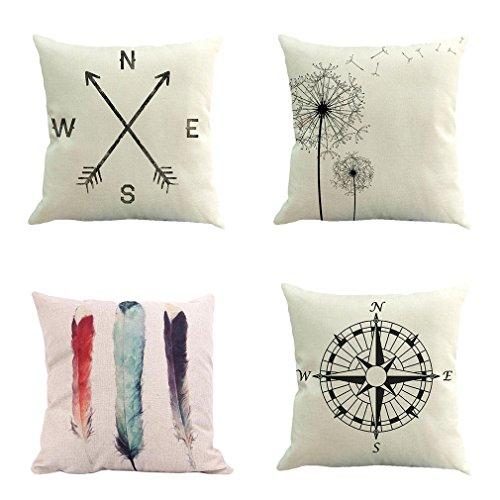 BPFY 4 Pack Home Decor Cotton Linen Sofa Throw Pillow Case S