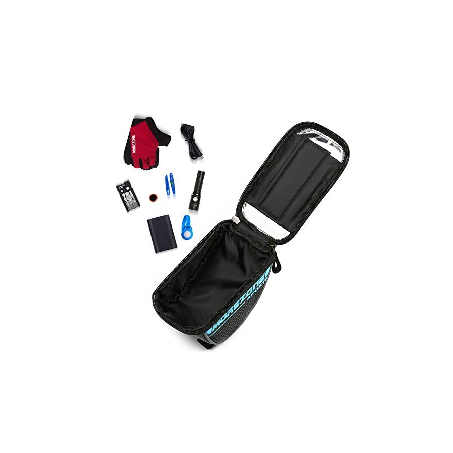 MOREZONE Bike Handlebar Bag Bicycle Pouch, Cycling Frame Bag Phone Mount Holder For iPhone 6 6plus Below 5.5 Inch Front Bags (Blue)