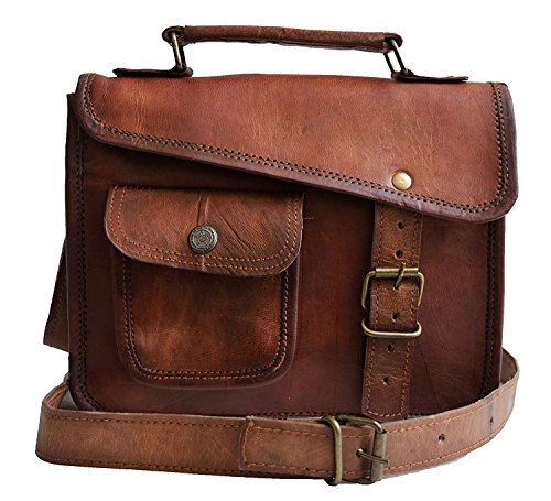MNI small Leather messenger bag shoulder bag cross body vintage messenger bag for women & men satchel (10 x - Vintage Leather Purse