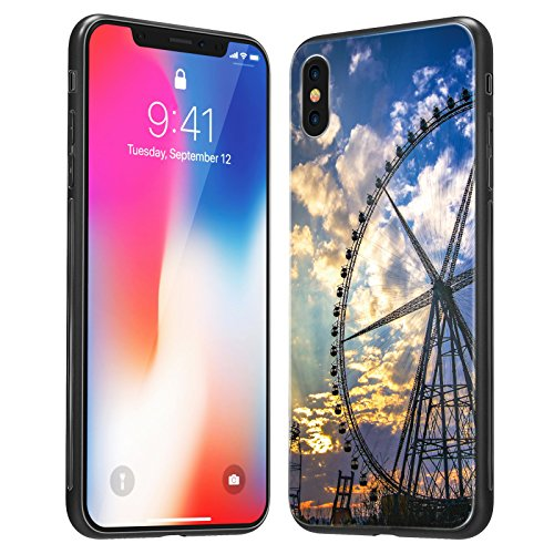 iPhone X Case, iPhone 10 Case, Soft TPU Case with Anti-Scratch Tempered Glass Back cover and Anti-slip overall protection Bumper for Apple iPhone X (Ferris wheel (Soft Back Cover)