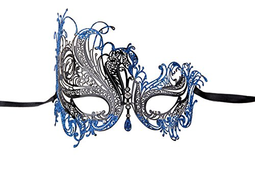 Luxury Mask Women's Swan Metal Filigree Laser Cut Venetian Masquerade Mask, Black/Blue Glitter, One Size