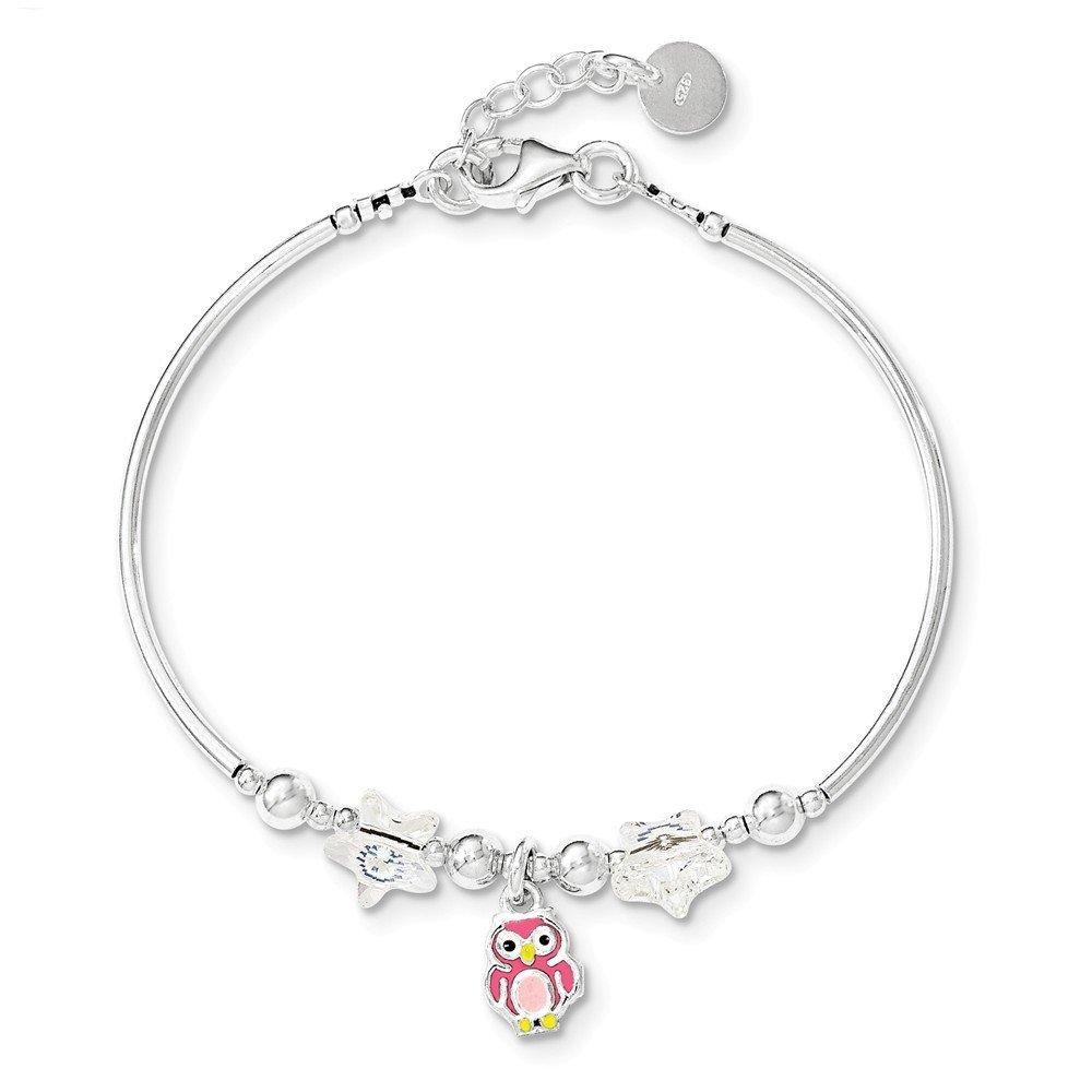 .925 Sterling Silver Childrens Enamel Owl Stars Swarovski with 0.75 inch Extension Bracelet 6.00 inches