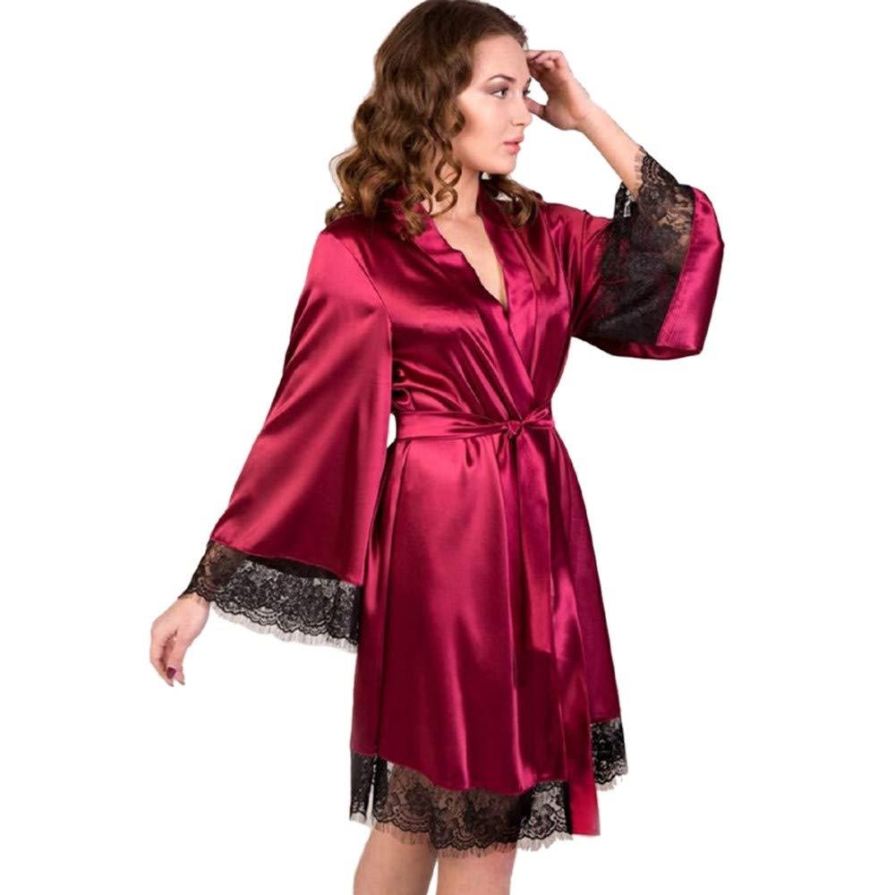 Women Sexy Long Silk Kimono Robe Oblique V-Neck Elegant Nightgown Bathrobe Babydoll Lingerie Nightdress (Wine, XXXL)