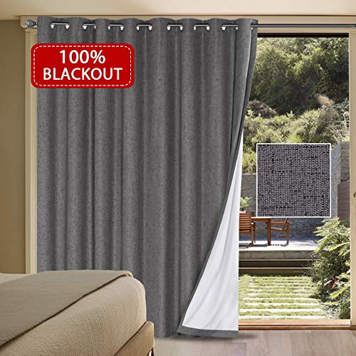 H.VERSAILTEX 100% Blackout Patio Door Linen Curtains for Sliding Door- Extra Long and Wide Blinds Thermal Insulated Waterproof Textured Linen Drapes for Glass Door (Grey, 100