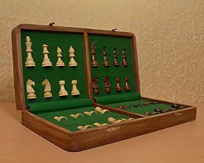 Chessbazaar Traveling Hand Made Magnetic Staunton Chess Set Shesham Wood 16 X 16 Inches