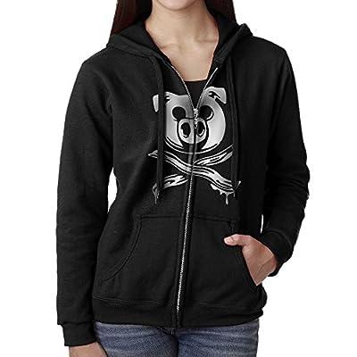Perky Pig Bacon Cross Bones Pirate Women's Active Comfy Full-Zip Hooded Sweatshirt