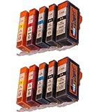 Start - 2 Jeu = 10 Cartouches (avec puce) d'encre Compatible CHIP PGI CLI 525 526 - Noir (grande + petite), Cyan, Magenta, Yellow - cartrouches d'encre pour Canon Pixma IP 4850 4950 IX 6550 MG 5150 5250 5340 5350 6150 6250 8150 8240 8250 MX 715 884 885 895 - avec puce - mise en place immédiate de la cartouche d'encre sans adaptateur - pas d'étiquette à puce - comme dans le cas des cartouches d'origine - 100% Manomètre - 100% qualité - Cartouche de qualité -