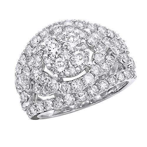 - Ladies Right Hand Rings 14K Gold Cluster Diamond Ring 4ctw G-H color (White Gold, Size 7.5)