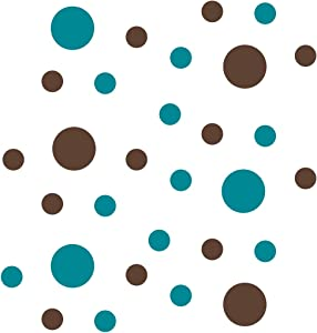 """Turquoise/Chocolate Brown Vinyl Wall Stickers - 2"""" & 4"""" Circles (30 Decals)"""