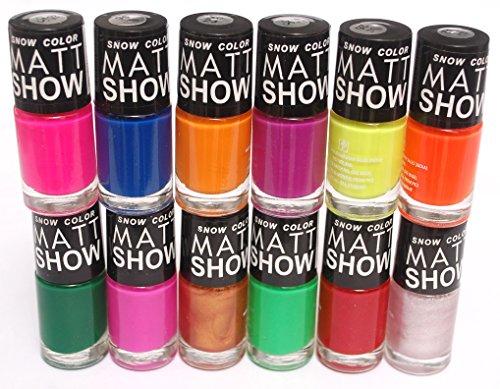 Snow Color Matt Show – Nail Polish Set of 12 Pcs. (Multicolor Set No.57)