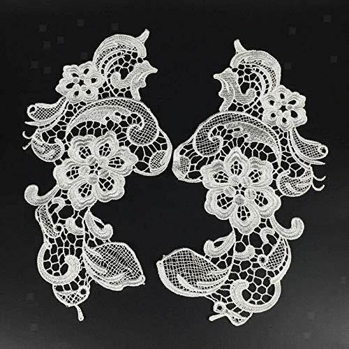- 1 Pair Venice Venise LACE Flower Motif White Sewing Floral Applique Trim