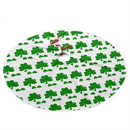 Burtonerson ST Patricks Day Shamrock Clover 35.5 Inch Christmas Tree Skirt Polyester Plush Xmas Tree Skirt Large Mat Xmas Party Holiday Home Decorations from Burtonerson