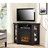 Corner Fireplace TV Electric Fireplace Stand Table Shelves Vertical Media Storage Rustic Unique Design Minimal Decor Indoor House Entertainment Center Furniture & E book Easy 2 Find.