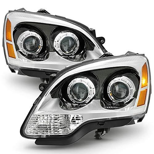 ACANII - For 2007-2012 GMC Acadia Chrome Housing [Halogen Model] Headlights Headlamps Assembly Driver + Passenger ()