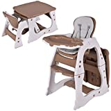 Costzon 3 in 1 Baby High Chair Desk Convertible Play Table Conversion Seat Booster (Brown)