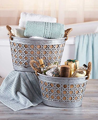 Galvanized Baskets Set of 2 Burlap with Hemp Handles Use for Weddings, Showers, Bath and Kitchen Storage