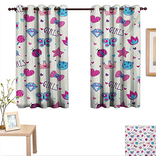 Teen Girls Decor Curtains by Pattern with Funny Doodle Elements Bowtie Ladybird Diamond Figures and Kitty 63