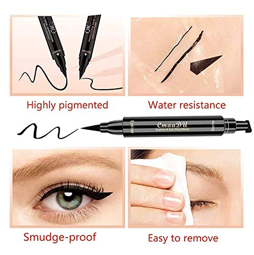 Double-end Winged Eyeliner Stamp Pen,Eyebrow Pencil with Eye Makeup Long Lasting Waterproof & Smudgeproof Natural Looking Brows 2PCS (Black/Dark Brown)