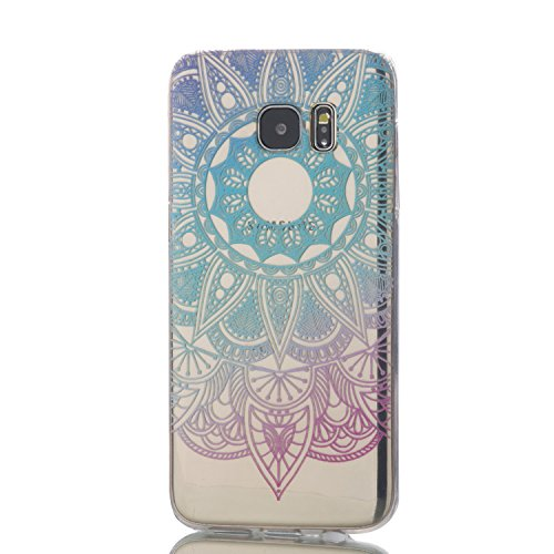 Price comparison product image LTWS Samsung Galaxy S7 Edge TPU Soft Case Transparent TPU Silicone Cover Colorful Pattern Design Clear Crystal Protective Back Bumper Shell-Blue Sunflower