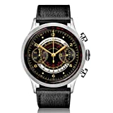 Dan Henry 1939 Vintage Multiscale Chronograph with Pulsometer, Telemeter & Tachymeter, Black Gloss Dial and Gilt Numbers, Limited Edition. 41mm Stainless Steel Case, Italian Leather Strap + Nato Strap