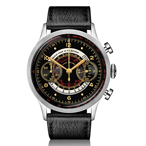 Dan Henry 1939 Vintage Multiscale Chronograph with Pulsometer, Telemeter & Tachymeter, Black Gloss Dial and Gilt Numbers, Limited Edition. 41mm Stainless Steel Case, Italian Leather Strap + Nato Strap Limited Edition Black Dial