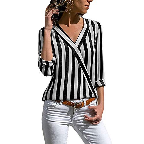 (Eiffel Women's Black White Stripe Long Sleeve V Neck Casual T Shirt Tops Tee)