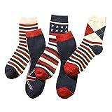 5 Pairs Men's Dress Socks - Red and Blue Stripe Socks for Men