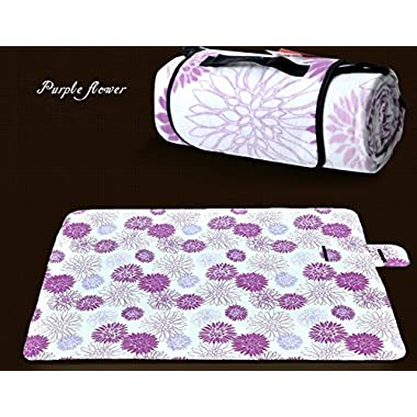 LOVEHOS Waterproof Moister-proof Camping Blanket Pad, Beach Outdoor Picnic EPE Mat with Tote 59.1'' x 78.7'' (purple flowers)