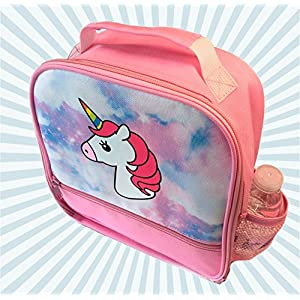 Unicorn Lunch-Box for Girls. Pink Lunch Bag with Rainbow Horn | Large School Lunch-Boxes | Gifts for Little Girl Kids & Toddlers | Cute Insulated Tote | Lunchera para niñas Bonitas | BPA Free