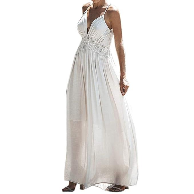 1224c059c Berimaterry Color sólido sin Tirantes Playa Falda de Manga Larga Moda de Mujer  Vestido Estampado Floral