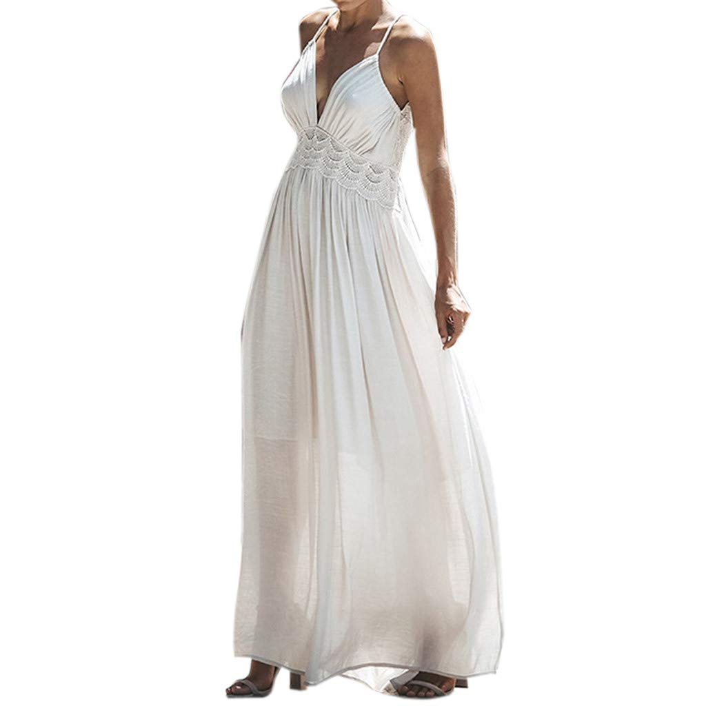 Twinsmall Maxi Dress, Women Casual Floral Dress Boho V Neck Sleeveless Flowy Pleated Loose Long Beach Party Dress (M, White 2)