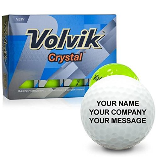 Personalized Crystal Golf Balls - Volvik Crystal Green Personalized Golf Balls