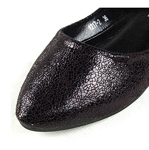 Black Women Lazutom Flats PU Loafer Leather Comfortable Lady AnC40q