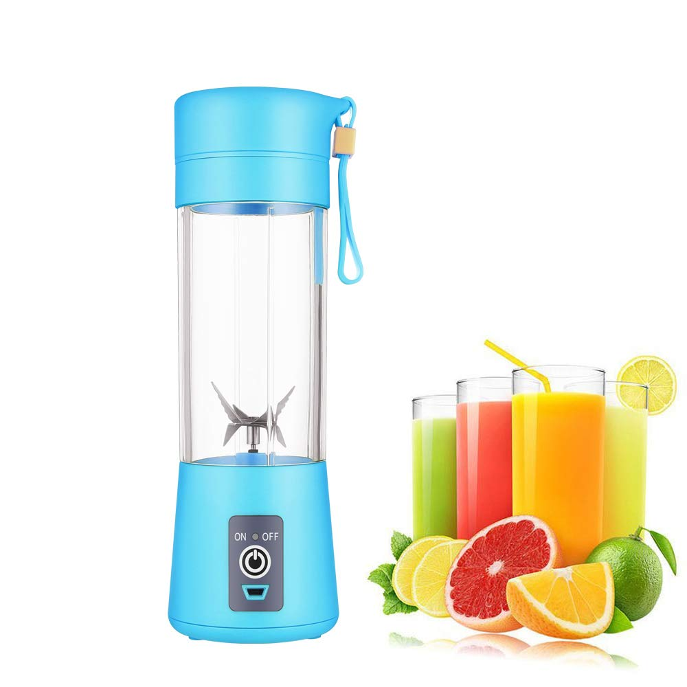 Portable blender Personal 6 Blades Juicer Cup Household Fruit Mixer,With Magnetic Secure Switch, USB Charger Cable 380ML (Blue)