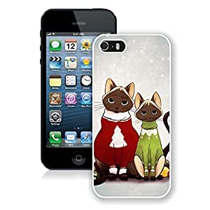 Recommend Design Lovely Red And Green Decorated Christmas Cats Iphone 5s Case,Phone Case For Iphone 5,Iphone 5 White TPU Cover