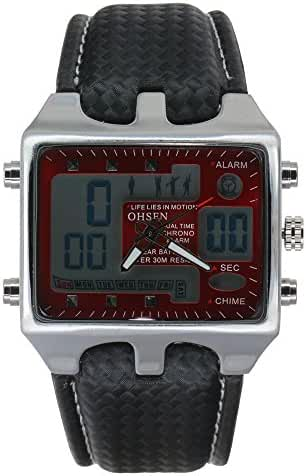 Ohsen Leather Band Dual Time Digital Analogue Multifunction Watches