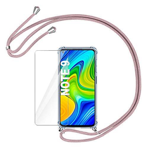 🥇 AROYI Funda con Cuerda para Xiaomi Redmi Note 9 + Protector Pantalla