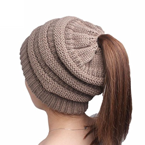haoricu Women Hat, 2017 Fashion Winter Women Hole Knitting Beanie Turban Head Wrap Cap (Khaki) (Womens : Khaki Clothing Accessories)