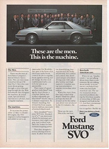 Magazine Print Ad: Silver 1984 Ford Mustang SVO, 28 Men of Special Vehicle Operations,