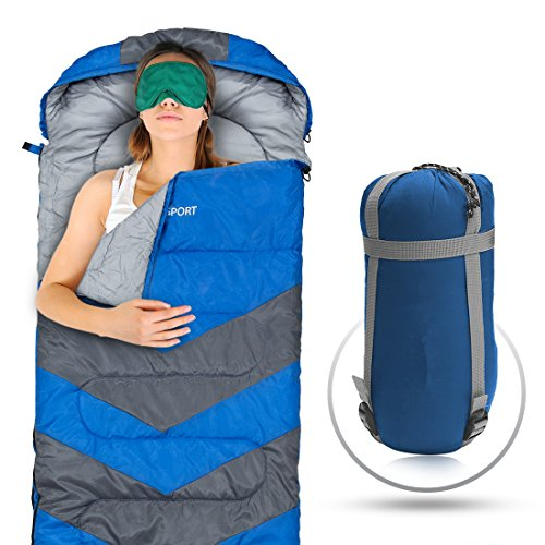 Sleeping Bag – Envelope Lightweight Portable, Waterproof, Comfort With Compression Sack – Great For 4 Season Traveling, Camping, Hiking, & Outdoor Activities. (SINGLE)