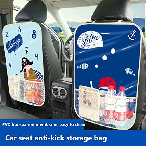 Gold Happy New Cartoon Car Backseat Rear Protector Storage Bag Holder Baby Child Anti Kick Dirty Mat Pading Auto Seat Back Books Organizers Random style