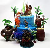 Cake Toppers MOANA Birthday Set Featuring Various Characters and Decorative Themed Accessories