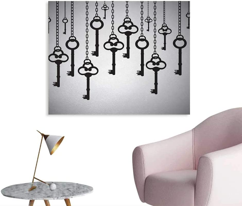Tudouhoho Antique Wall Poster Silhouettes of Old Keys Hanging Chain Links Unlocking Secure Home Opener Mural Decoration Light Grey Black W28 xL20