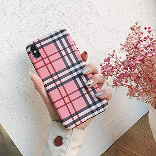 - YALTOL for iPhone Xs Max,XR,XS/X,7/8,7/8plus,6/6s,6/6splus Personality Creative Fashion TPU Pink Plaid Mobile Phone Shell Drop Protection Sleeve,XSMax