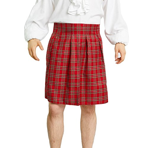 Largemouth Men's Scottish Kilt Costume (Plus (38, Piper Red)