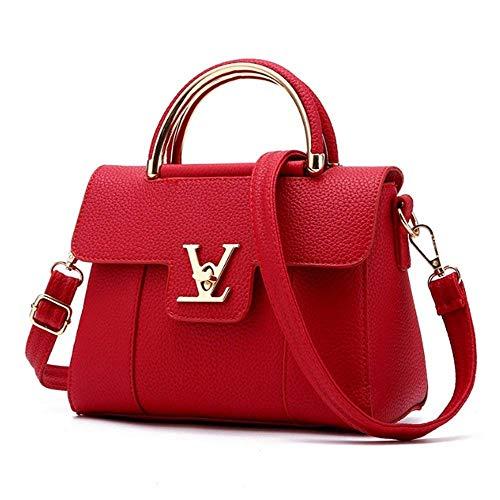 color Para Bolso El Trabajo Mano Yisaesa Rojo Pu Mujer De Pequeño Cuero Bolsos Blanco q4Pwdt