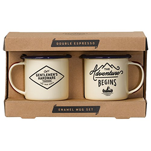 Gentlemen's Machinery Adventure Enamel Espresso Mug Set, Cream (5 Ounces)